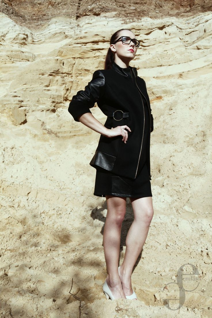 black coat with leather elements Emilia Sikorska www.emfaso.com