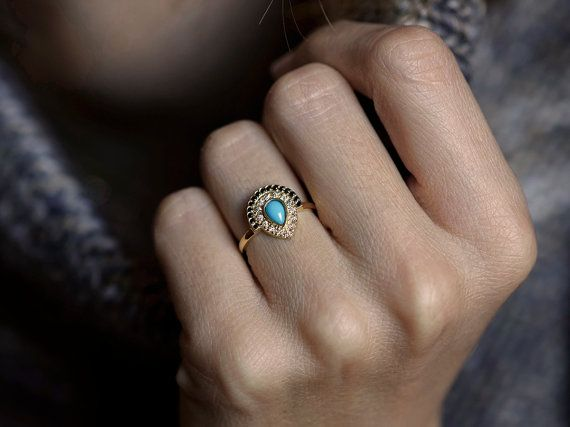Turquoise Engagement ring Bohemian Engagement Ring by MinimalVS