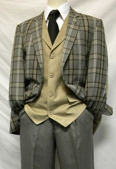 Stacy Adams Mens Gray Plaid Bally Vested Fashion Suits 5092-208