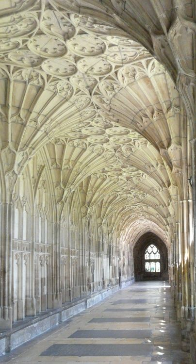 The fan vaulting of Gloucester Cathedral, or the Cathedral Church of St Peter and the Holy and Indivisible Trinity, in Gloucester, England.  by Stephen