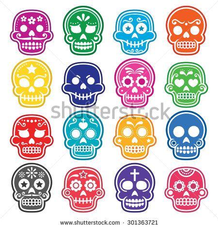 Halloween, Mexican sugar skull, Dia de los Muertos - cartoon icons by RedKoala #death #31October #death