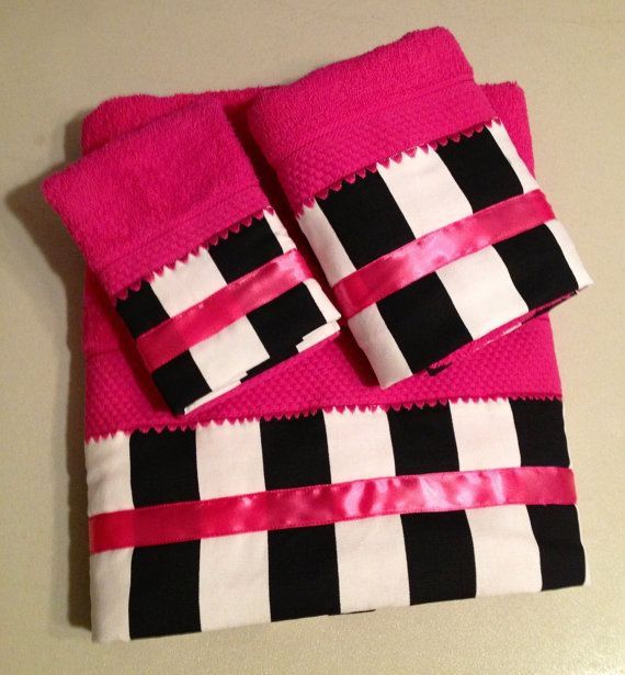 Black & White Striped Fuchsia Hot Pink Bath by LadyDiBlankets, $57.75