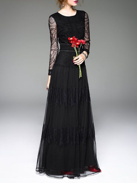 Shop Maxi Dresses - Black Swing Long Sleeve Evening Dress online. Discover unique designers fashion at StyleWe.com.