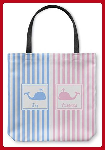 "Striped w/ Whales Canvas Tote Bag - Large - 18""x18"" (Personalized)"