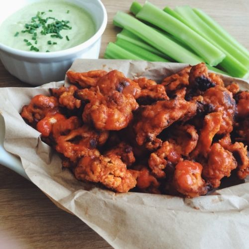 I can't wait to try these cauliflower buffalo wings & ranch dipping sauce from hotforfoodblog.com