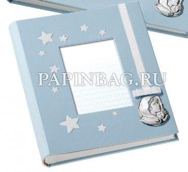 """Фотоальбом для новорожденного """"Il mio bambino""""(Luxury), фоторамка и листы для записей, голубой, Италия, серебро"""