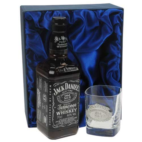 £79.99 - this is a great gift idea for any Jack Daniel's lover. Jack Daniels Gift Set with Jack Daniels and Square Engraved JD Whisky Glass