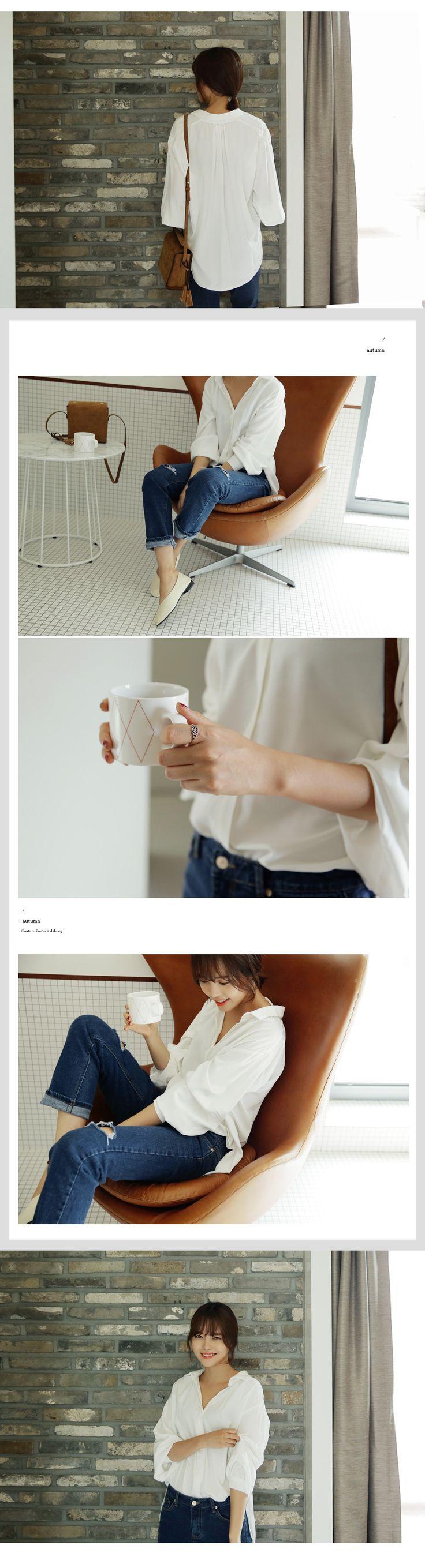 Vネックオーバーフィットブラウス・全4色シャツ・ブラウスシャツ|レディースファッション通販 DHOLICディーホリック [ファストファッション 水着 ワンピース]