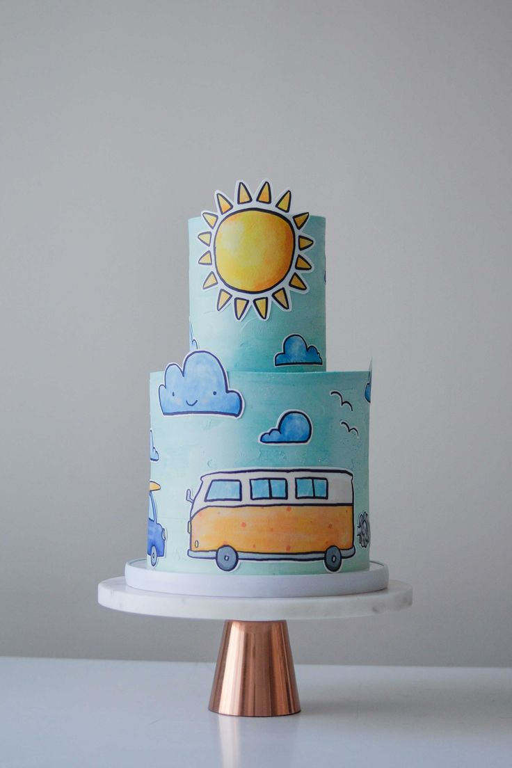 Cut-Out Car, Sun and Surf Celebration Cake by LionHeart