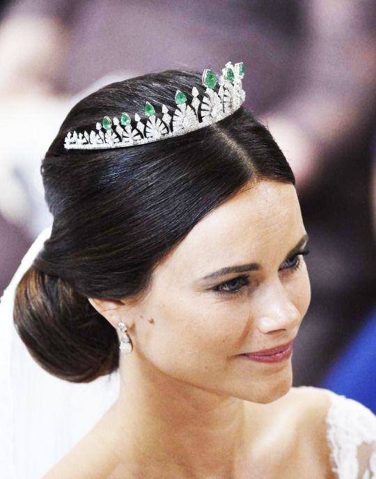 Princess Sofia, Duchess of Värmland. Sofia wore a new, small diamond and emerald tiara given to her by her new in-laws, King Carl XVI Gustaf and Queen Silvia of Sweden.