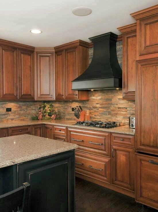 Stacked stone backsplash kitchens dinning rooms for Pictures of backsplashes for kitchens