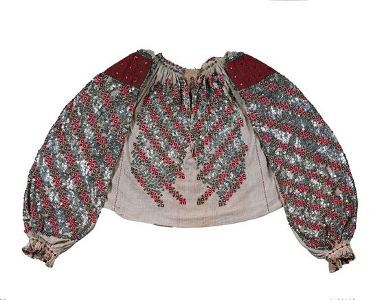 A 19thc. Romanian blouse decorated with embroidery and sequins