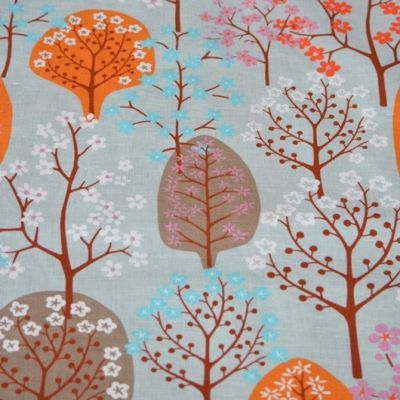 Haga Orange & Clay - Haga fabric designed by Swedish designer Bitte Stenstram  A larger scale whimsical tree and blossom design printed on  on a beautiful textured cotton/linen blend. Haga would look striking made into curtains, blinds, cushions, linen, lampshades and other home decorating items for the home.