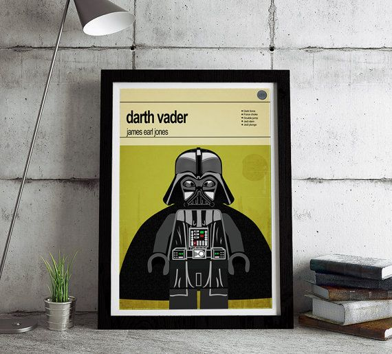 Lego Star Wars Darth Vader.   This is a stylish framed poster print of the Lego Star Wars character Darth Vader, fit to grace any man cave or children's bedroom. Hand drawn with a graphics tablet and pen this print is styled with typography and features the legendary voice of James Earl Jones, who was the voice of Darth Vader in the Star Wars film series. It also features the Lego Starwars character abilities.