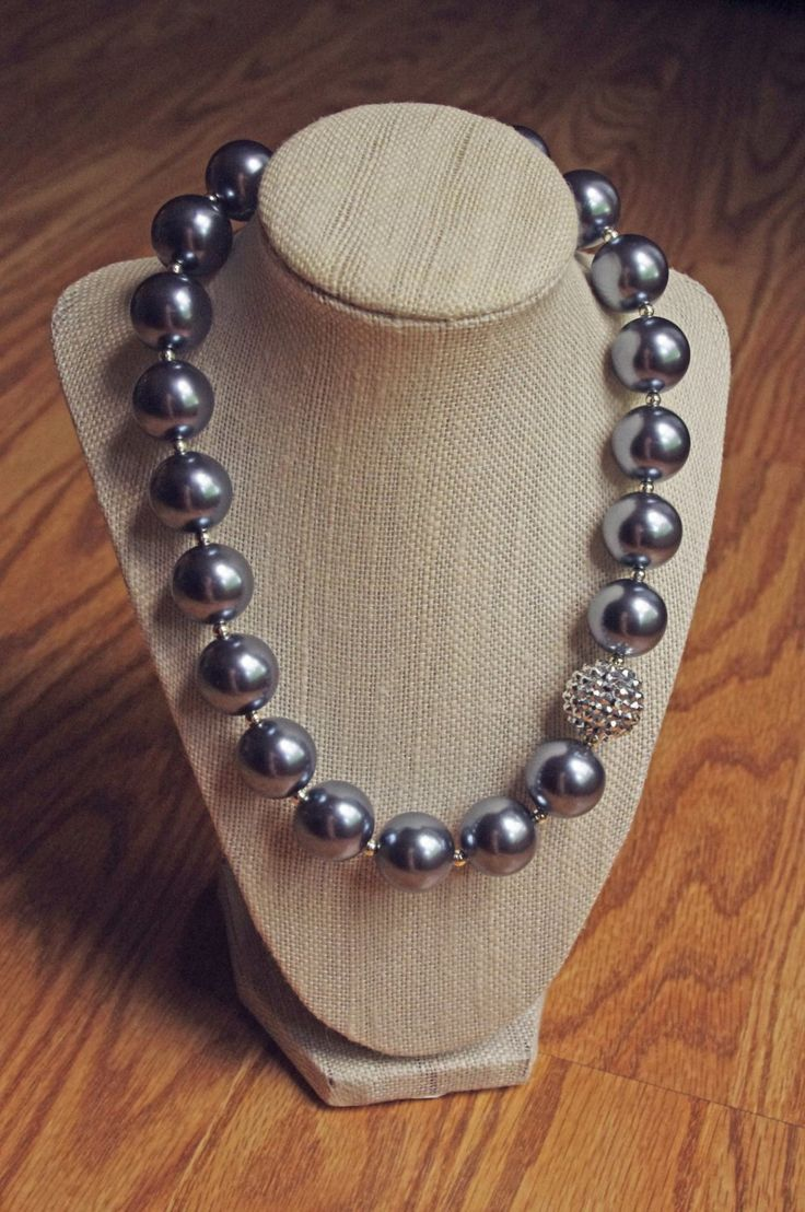 Silver Pearl Statement Necklace Adult Chunky Beaded