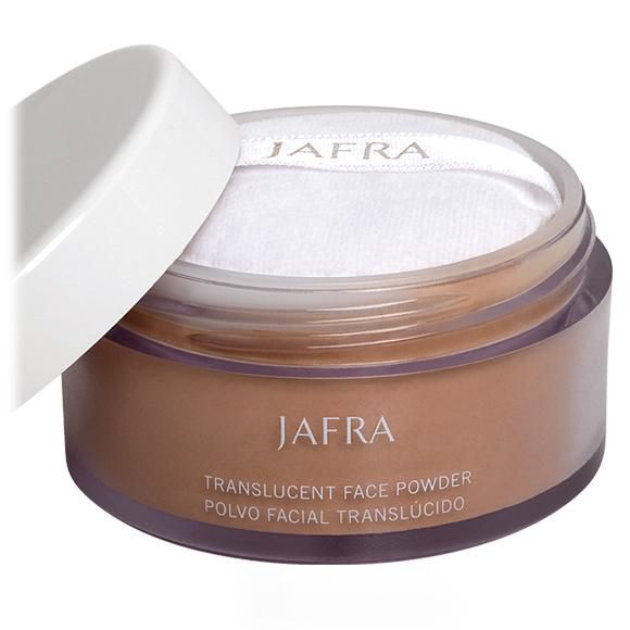 JAFRA Cosmetics Translucent Face Powder.  Micro-fine loose powder diffuses light, minimizes the look of fine lines, wrinkles. Natural finish glides on easy, lasts all day.