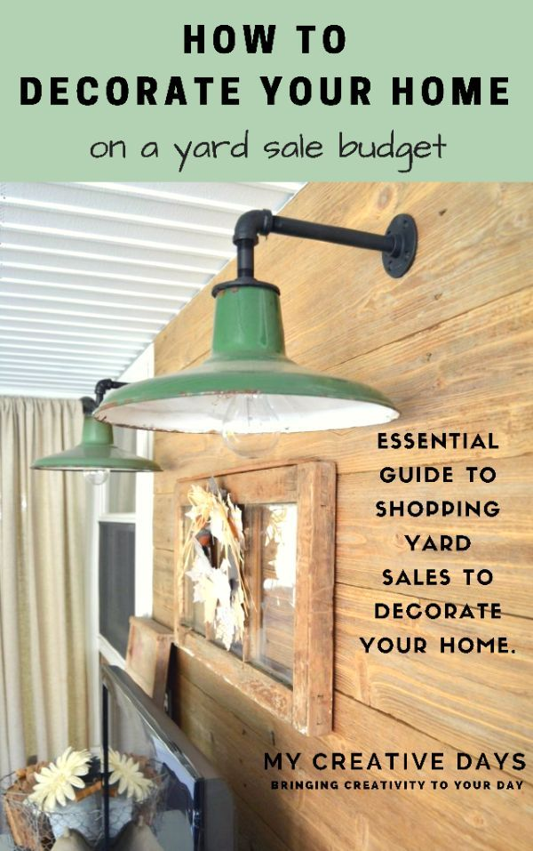 Want to decorate your home like you see in magazines but don't have a large budget to do it? This free guide from My Creative Days shows you How To Decorate Your Home On A Yard Sale Budget!