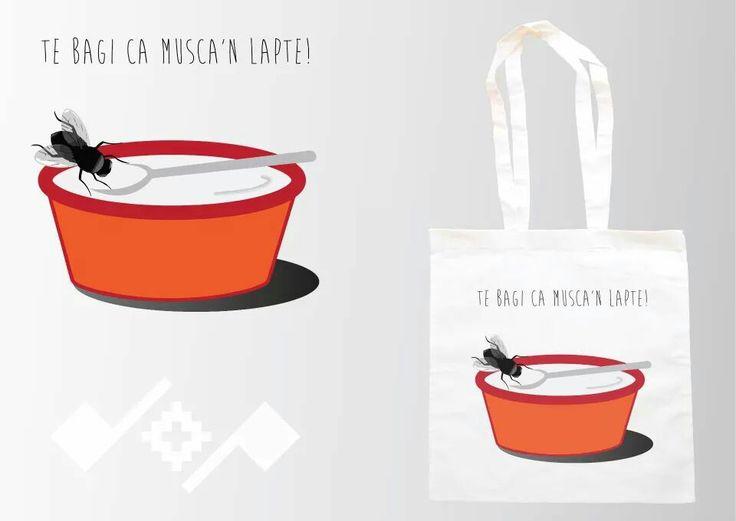 Musca'n lapte!  Romanian inspiration design printed on cotton bag;   https://m.facebook.com/beeboo814?_rdr#!/design.cu.origini.populare