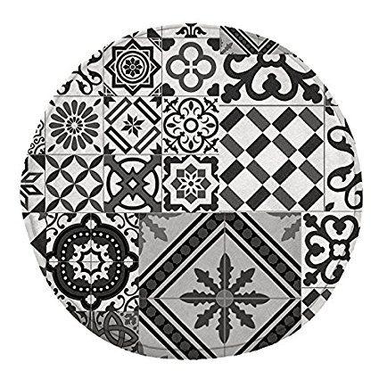 tapis rond motifs carreaux de ciment noir gris diam 60cm toodoo monbeautapis polyester - Tapis Rond Color