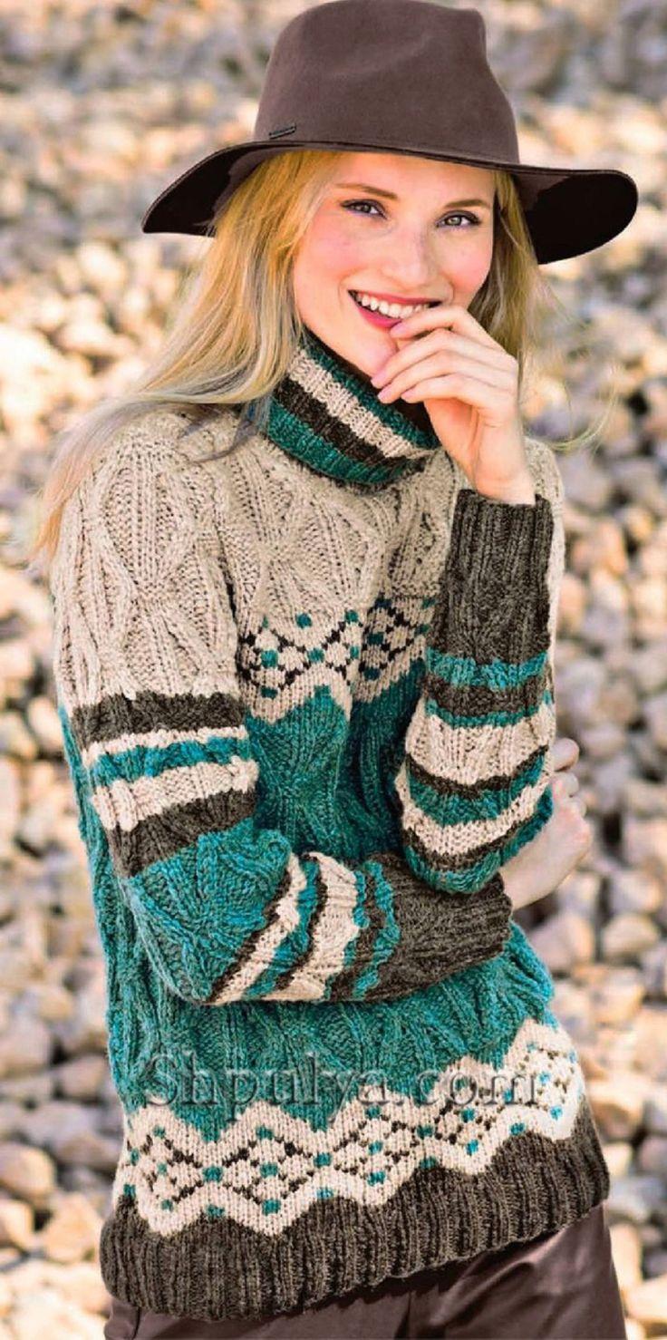 Пуловер с узором из ромбов и жаккардовым узором