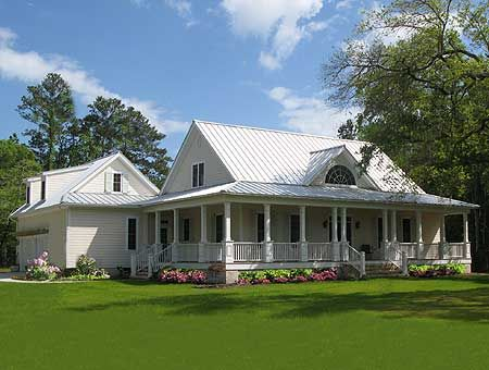 no dormers, metal roof, this roof line, similar wraparound porch, covered connected garage & carport or entertaining area (move right--> even w/the porch), ?garage apartment or storage area [the garage area door will probably be the front door and the front pictured here will be the back door & back yard]
