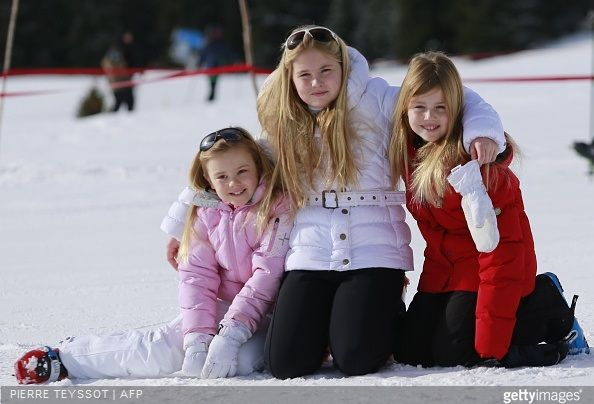 Princess Ariane, Princess Alexia, and Princess Catharina-Amalia of The Netherlands on skiing holiday, February 23, 2015 in Lech, Austria.