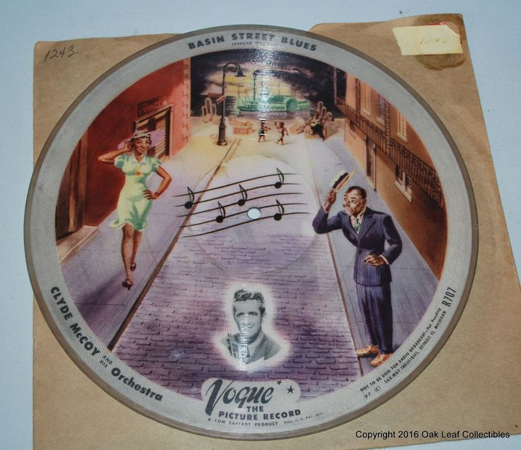 Spencer Williams Basin Street Blues 78 RPM Record Vogue Picture Disc 1947 #1960s