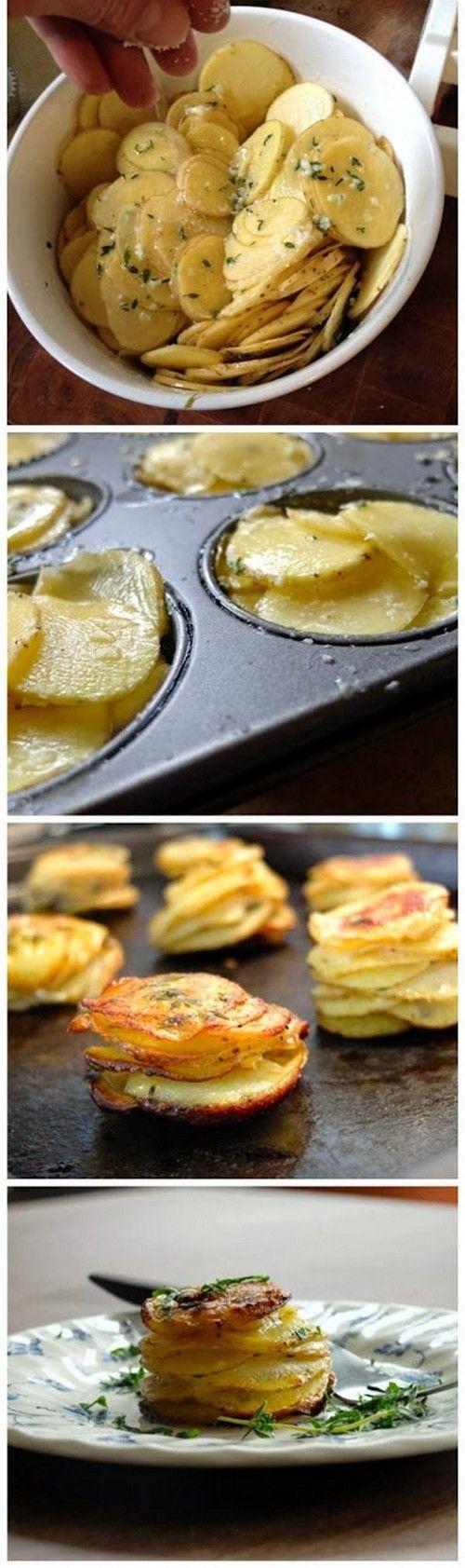 L'il Pomme Anna.It's a very simple deconstruction of that classic casserole potato dish Pomme Anna, but with a single-serve attitude.