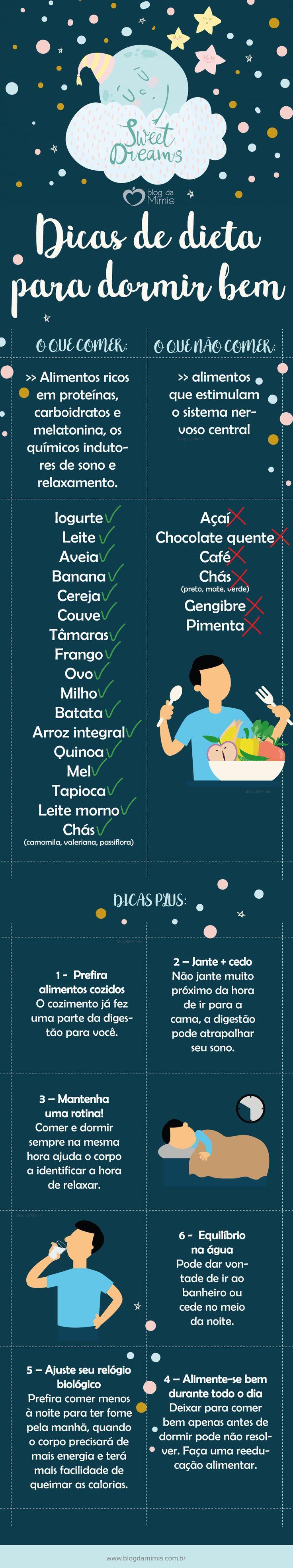 Dicas de dieta para dormir bem - Blog da Mimis #sono #dormir #dieta #blogdamimis #infográfico