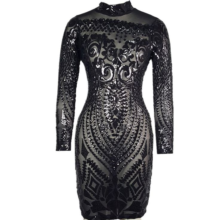 Women Sequin Dress Geometric Tattoo Bandage Bodycon Club Dresses – Black – C112OCIWC2K