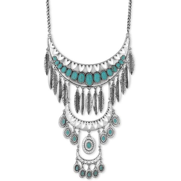 Lucky Brand Silver-Tone Stone and Feather Multi-Level Statement... (£68) ❤ liked on Polyvore featuring jewelry, necklaces, silver, silvertone necklace, silver tone jewelry, lucky brand jewellery, silver tone necklace and feather jewelry