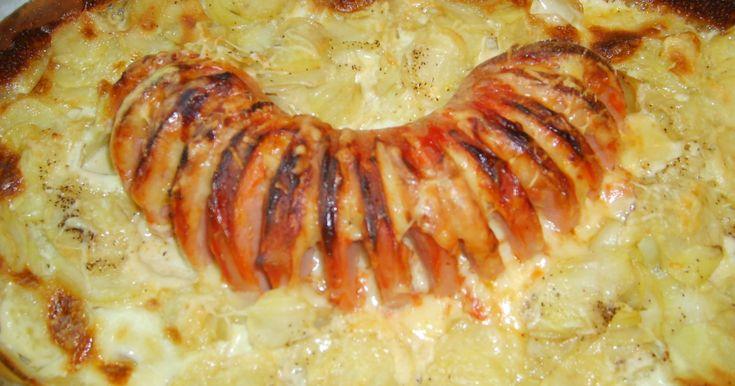 Ugnstekt falukorv med potatis.