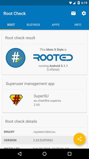 Root Check v4.1.1.0 [Ad Free]   Root Check v4.1.1.0 [Ad Free]Requirements:4.0Overview:Got root? This app will let you know if your device has root (superuser) access. 100% free!  NOTE: This app does not root your device. It does not modify any system files. The sole purpose of the app is to check whether or not a device has root access. It also provides helpful information about root and Android.  This is a great tool for anyone who is interested in rooting an Android device. It provides a…