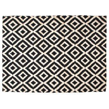5 x 7 black white geometric ikat printed rug hobby lobby