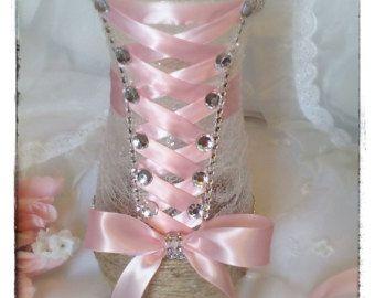 Quinceanera centerpiece vase in light pink by JuicyBalloons