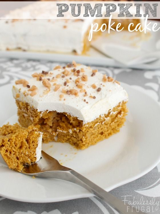 Super Easy Pumpkin Poke Cake! No one will ever guess that this cake is made with a cake mix! This pumpkin cake is incredibly moist and dense.