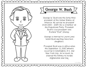 president george w bush coloring page craft or poster with mini biography