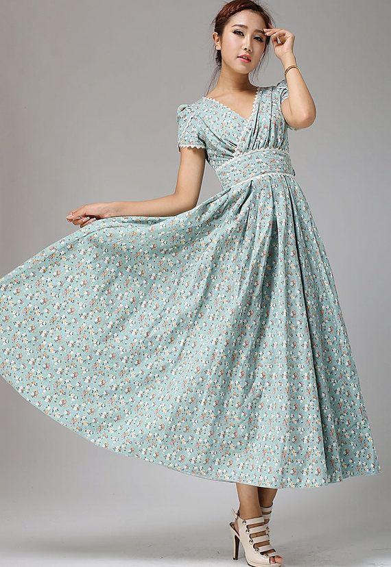 Robe longue robe à fleurs bleu oeuf de canard mariage robe