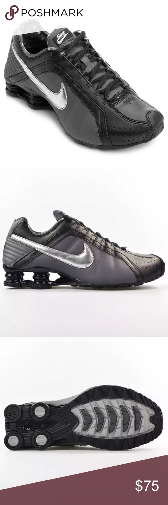 Nike Womens Shox Junior Run Running Shoes New Nike Womens Shox Junior Run Running Shoes 454339-020 sz 7.5 Black Dark Gray. 100% AUTHENTIC NEW IN ORIGINAL BOX WITH NO BOX LID  NIKE SHOX JUNIOR  WOMEN'S SHOES 454339 020  COLOR: BLACK/METALLIC-SILVER  FULL LENGTH PHYLON MIDSOLE  NON-MARKING RUBBER OUTSOLE Nike Shoes Athletic Shoes