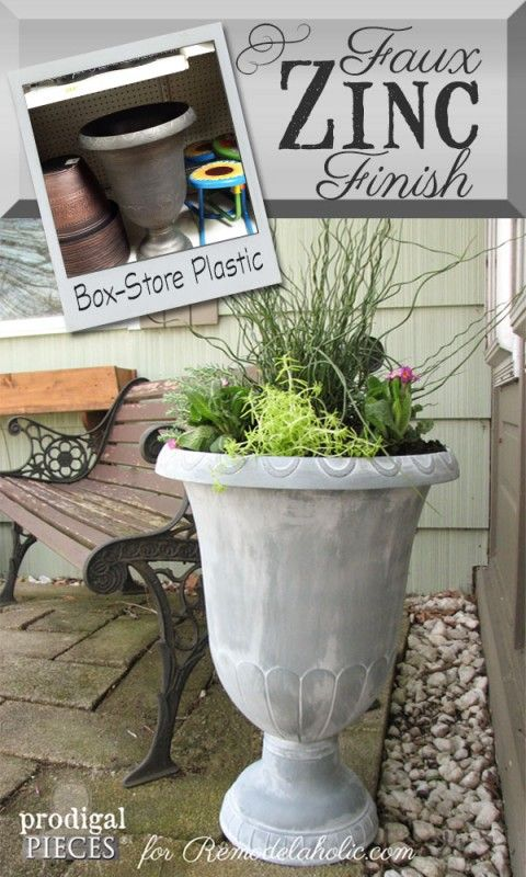 Easy DIY faux zinc finish, to make an inexpensive plastic planter look like expensive zinc. Could be used on so many things!