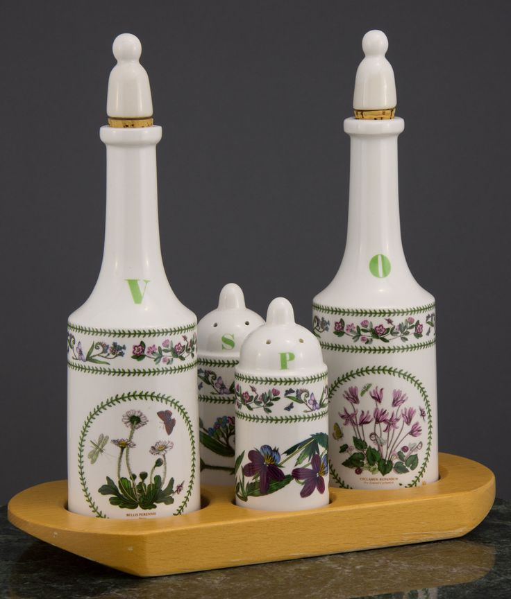 Pinner wrote, 'Portmeirion Pottery Cruet Set, Variations Pattern, dated 1991'.