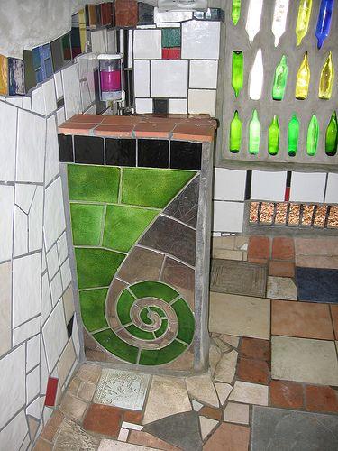 nz toilet Hunderwasser design where he lived in Kawakawa