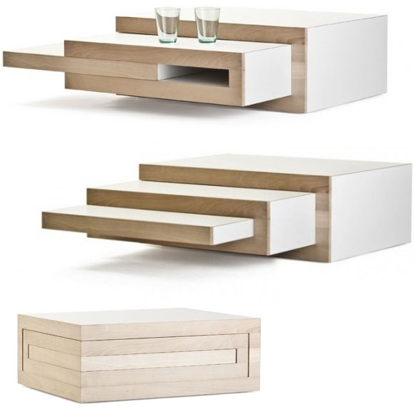 Coffee table with slide out extensions when needed.  Great for small living rooms.  Modern square & straight lines.