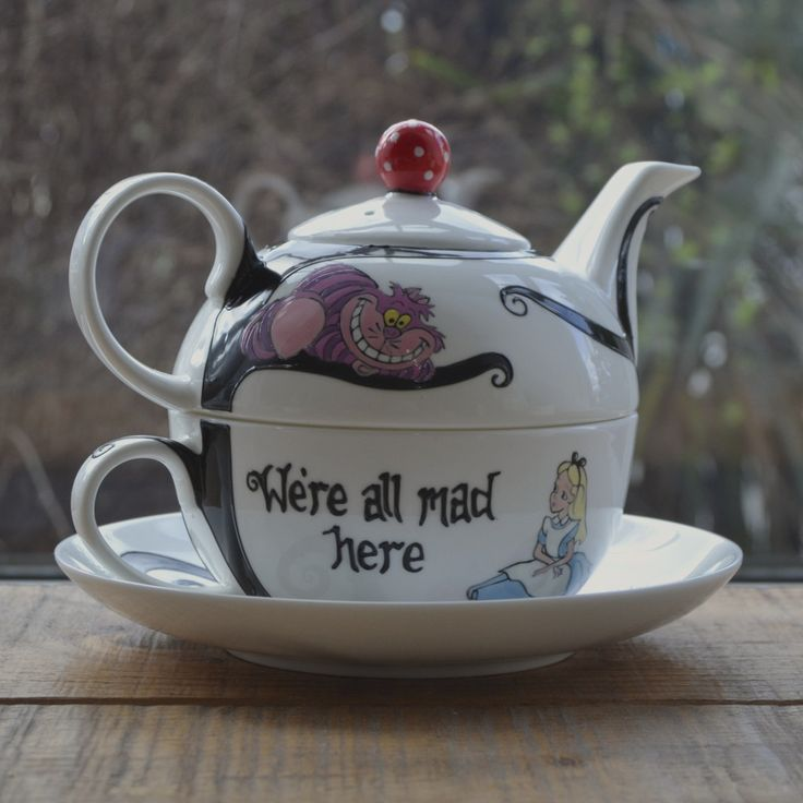 Who says you need a crowd to have a tea party? This lovely, bone china teacup and pot are perfect for those solo moments. The teapot and cup are hand painted with an Alice in Wonderland themed design that features two quotations from the original book and the characters of Alice and the Cheshire cat in the style of the Disney film.The wide, bistro style cup is quite large, but the quality, bone china keeps it light and there's plenty of room on the saucer for a biscuit or two. This design…