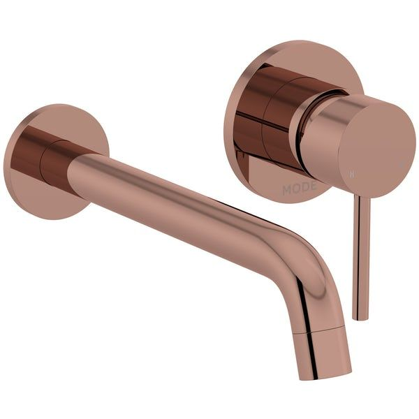 The Mode Spencer Round Wall Mounted Rose Gold Basin Mixer Tap Basin Mixer Taps Sink Taps Basin Mixer