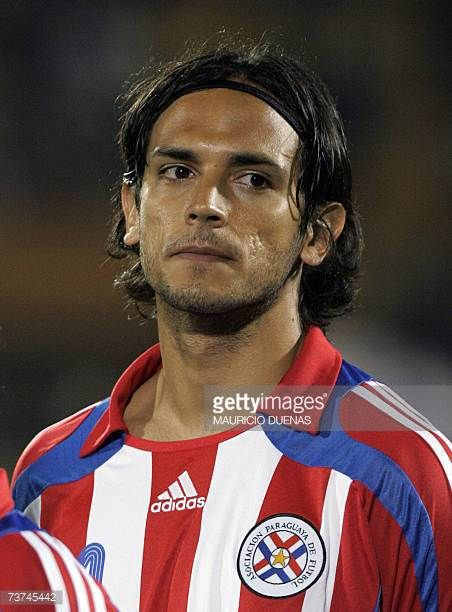 Roque Santacruz of Paraguays national football team posses before a friendly match against Colombia 28 March at El Campin stadium in Bogota AFP...