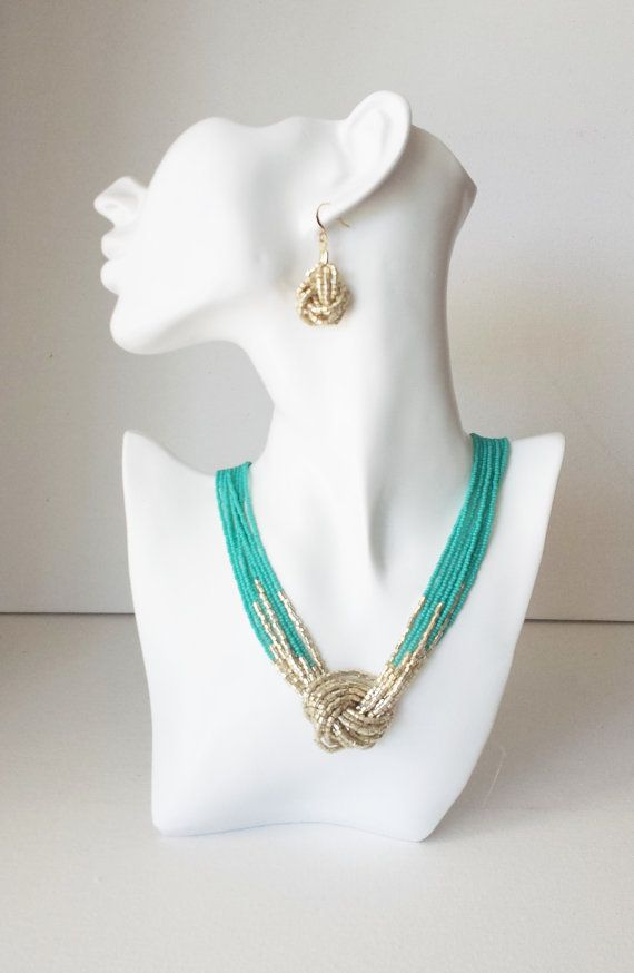 Turquoise and gold necklace, seed bead necklace,knot turquoise necklace,teal and gold, beaded necklace, choker, multistrand necklace,aqua