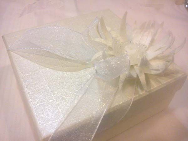 Wedding bonboniere handmade from silk cocoons simply particularly fashionable No1