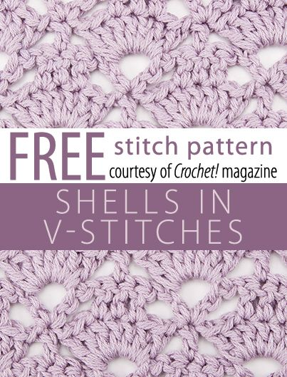 Shells in V-Stitches Pattern from Crochet! magazine. Download here: http://www.crochetmagazine.com/stitch_patterns.php?pattern_id=122