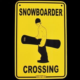Snowboarder Crossing Sign Snowboard Snow Board Signs Ad Snow Boardhome Decor